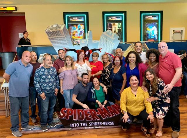 "Group picture at the Screening of ""Spiderman: Into the Spiderverse"""